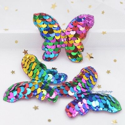 8Pcs Bling Rainbow Butterfly Appliques with Sequins Embroider Pads Craft Patches