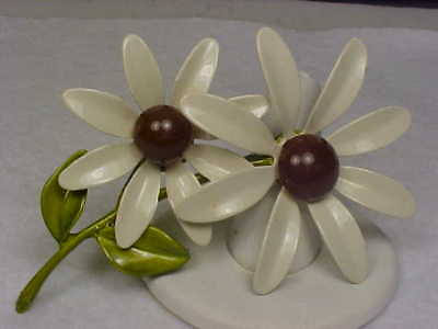 Vintage White/Brown/Green Enameled Metal Double Daisy/Flower Brooch