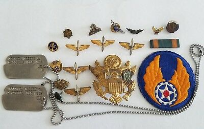 WWII US Army AAC Air Corps Sterling Officer Insignia Badge Lot Nice Variety!