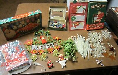 Vtg Lot Christmas Tiny Ornaments, Snow, Angel Hair, Gift Tags, Elves, Lights Etc