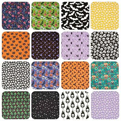 Halloween Polycotton Fabric SKULL PUMPKIN WITCH SPIDER BAT Black White Scary