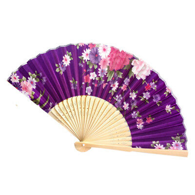 Bamboo Folding Hand Held Flower Fan Chinese Style Dance Party Pocket Gift E YT8