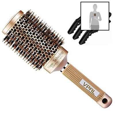 Round Brush For Blow Drying W 3Pcs Hair Clips Natural Boar Bristle Nano Thermal