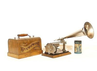 "Excellent 1905 Columbia Q Cylinder Phonograph w/10"" Nickel Horn * Plays Great"