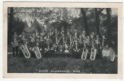 BOOTS PRINTED PHOTO POSTCARD BOOTS PLAISAUNCE BAND - pre 1918