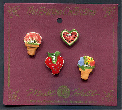 Ceramic Buttons Collection Watermelon Heart Strawberry & 2 Flower Pots Set Of 4