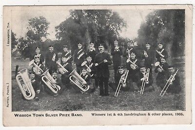 Printed Photo Postcard Wisbech Town Silver  Prize Band -Posted Wisbech 1906