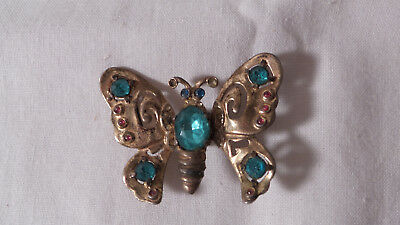 Vintage Coro craft Sterling & Rhinestone Butterfly Clip