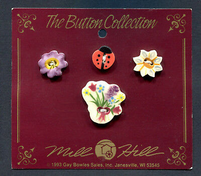 Ceramic Buttons Collection Ladybug Pansy Daisy & Bouquet Of Flowers Set Of 4 Mil