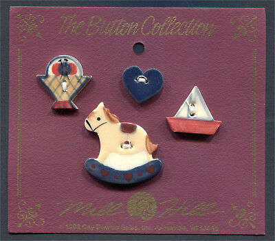 Ceramic Buttons Collection Knitting Basket Heart Sailboat Rocking Horse Set Of 4