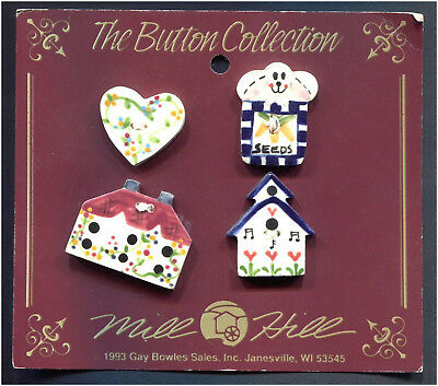 Ceramic Buttons Spring Collection Bunny Seed Packet Heart & 2 Bird Houses Set Of