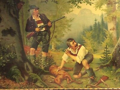 OLD BLACK FOREST HUNTING POACHER PICTURE DEER LITHOGRAPH GERMANY c1890 (2)
