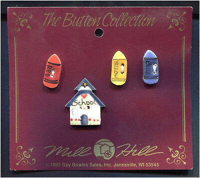Ceramic Buttons Collection School House & 3 Crayons Set Of 4 Mill Hill