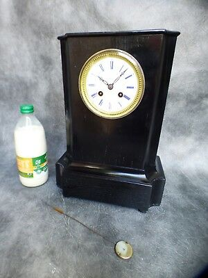 A NICE FRENCH EBONISED BELL STRIKE MANTLE CLOCK BY V POTONIE & CO PARIS c1870