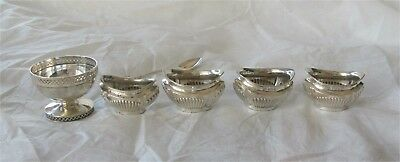 1910 Edwardian antique sterling silver salt cellar x 5 spoon Birmingham 163 gr