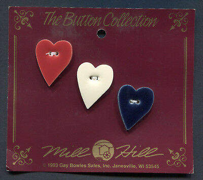 Ceramic Buttons Hearts Collection Red, White & Blue Hearts Set Of 3 Mill Hill