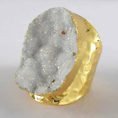 Scratched Size 6.5 Natural Agate Druzy Titanium AB Ring Gold Plated H120810