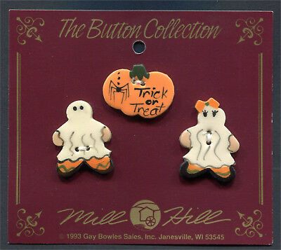 Ceramic Buttons Halloween Collection Trick Or Treat Pumpkin Boy  & Girl Ghost
