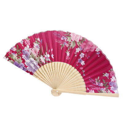 Retro Bamboo Folding Held Flower Fan Chinese Style Dance Party Pocket Gift J YT8