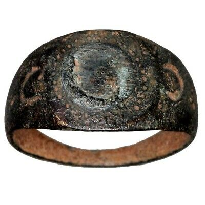 An Intact Roman Military Bronze Decorated Ring Circa 100 Ad