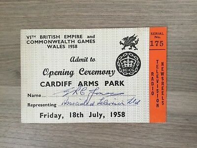 ATV Ticket: 1958 Commonwealth Games. Opening Ceremony. 18 July 1958.
