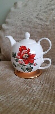 Lovely Laura Ashley Red Flower& Pink Floral Tea Pot Cup Set Tea for 1 Bone China
