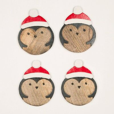 Sass & Belle Set of 4 Santa Hat Penguin Wooden Coasters Christmas Home Decor