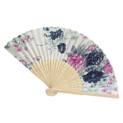 Retro Bamboo Folding Hand Flower Fan Chinese Style Dance Party Pocket Gift L YT8