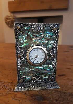 Lovely Small Mantle Clock With Clear Stones & Paua Shell - New Condition
