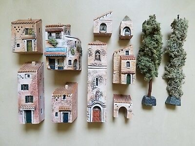9 Gault Miniature Buildings and 2 Trees