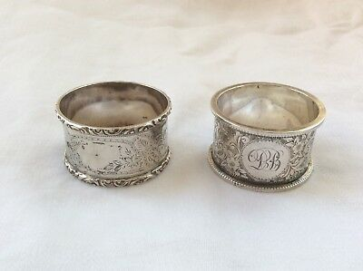 TWO ANTIQUE SOLID SILVER NAPKIN RINGS - no personal engraving.