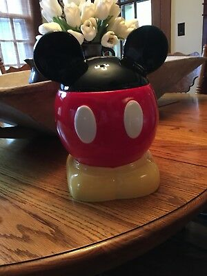 Disney Mickey Mouse Cookie Jar Ears Walt Disney World Park Round Black And Red