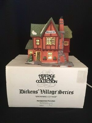 Dept 56 Heritage Dickens' Village Series BROWNING COTTAGE Lighted House # 5824-6