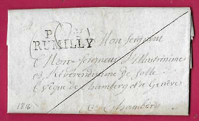 Marque Sarde Pp Gratte Rumilly Haute Savoie Bloye 1816 Chambery Lettre Cover