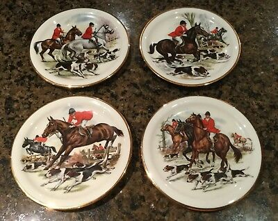 Nc Fox Hunt Scenes Decorative Dessert Or Salad Plates Made In Western Germany