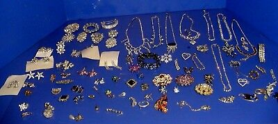 LOT 100 VINTAGE Antique Jewelry Necklaces Earrings Pins Brooches Rhinestone