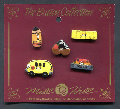 Ceramic Buttons School Days Collection Pencil Ruler Abc Heart Bus & Books Of 5