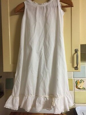 ANTIQUE VICTORIAN CHILDS  PETTICOAT White Cotton & Vest Girls