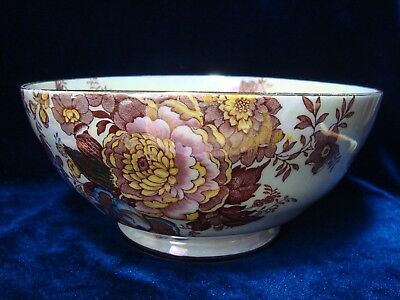 A Vintage Maling Pottery Printed Lustre Bowl, Flowers, Birds Etc.