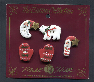 Ceramic Buttons Winter Collection Santa Moon Bear Red Mittens Santa Candy Cane