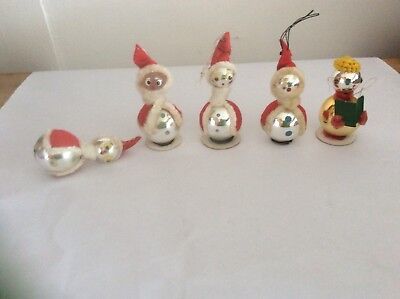 VINTAGE CHRISTMAS BULB SANTA CLAUS JAPAN LOT OF 5 Ornaments