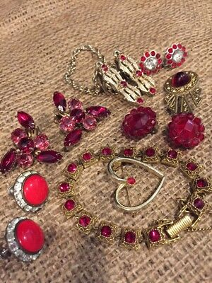 Lot 8 Pieces Antique/Vintage Costume Red Rhinestone Jewelry (152)