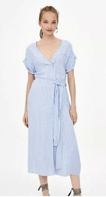 Zara Striped Midi Dress Belted Blue White Size S