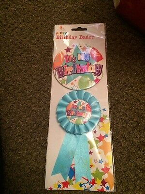 Party Birthday Boys Badge And Rosette Blue It's My Birthday