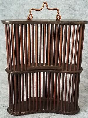 Oriental Wooden Handmade Double Decker Insect Cricket Pet Carry Cage Vintage
