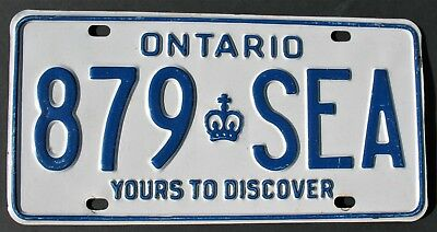 "Ontario Canada License Plate  1994 ""879-Sea"" Embossed Yours To Discover Crown"