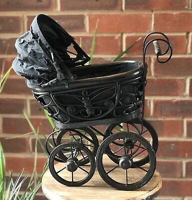Small antique buggy pram baby doll stroller doll carriage Victorian