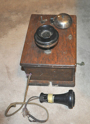Antique Wood Wall Mount Telephone Phone Western Electric? Restoration or Parts !