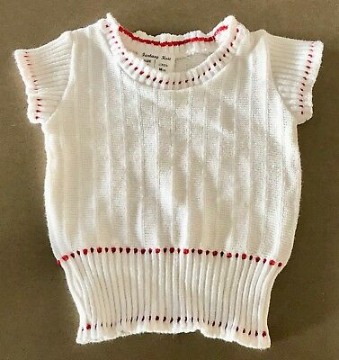 Vintage 70's Girl White w Red Trim FANTASY KNIT Cotton Short Sleeve Top Size 1