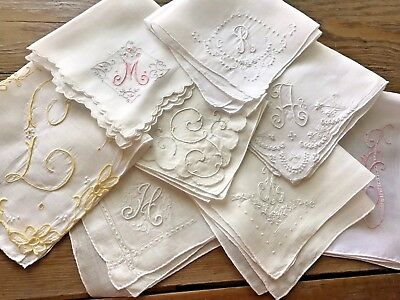 A+ 8 Vintage White Hankies Madeira Style Embroidery Monograms AHFLMGR Colors